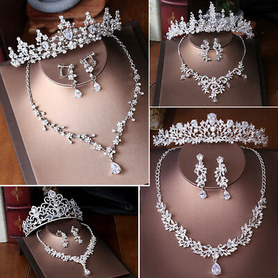 Elegant Bridal Jewelry Crystals Rhinestone Necklace Earrings Set Bridal Prom New