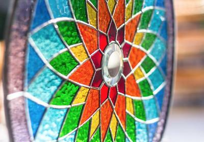 Tiffany Stained Glass Round Window Panel Yoga Mandala Spiritual Ritual - 15 INCH