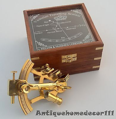 Antique Brass Vintage Sextant With Victorian Travelling Wooden Box Gift