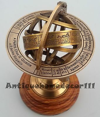 Nautical Handmade Solid Brass Sphere Globe Armillary With Wooden Base X-mas Gift