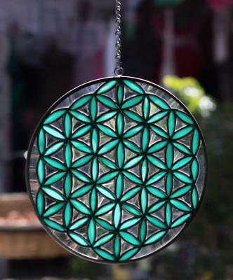 Flower of Life Tiffany Stained Glass Round Window Panel Yoga Mandala - 8 INCH