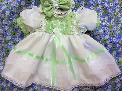 Dream Nb 0-3 Months Baby Girls Mint White  Traditional Dress Hbd Or Reborn Dolls