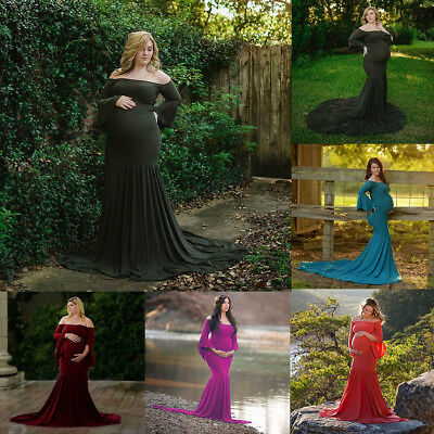 Pregnant Women Long Maxi Dress Maternity Fishtail Gown Photography Prop Clothes