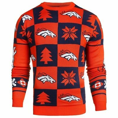 NFL UGLY SWEATER Pullover Christmas Style DENVER BRONCOS Crew Neck Football