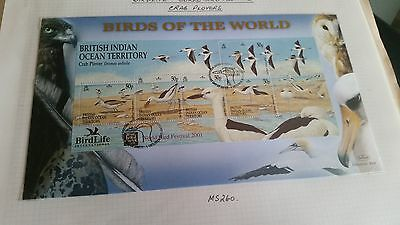 British Indian Ocean Territory 2001 Sg Ms260 Birdlife World.first Day Cover