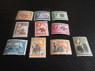 Ghana 1957 Sg 170-178 &181 Definitives Short Set Mnh
