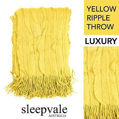 Ripple Throw Yellow Throw Rug Brand New