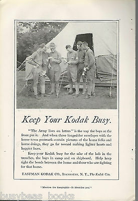 1917 KODAK advertisement, Eastman Kodak, WWI soldiers, letters from home
