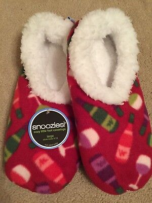 Snoozies, So Soft, Non-Skid Soles, Party Drinks Print,  Large (Shoe Size 9-10)