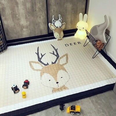 Ins Large Floor Baby Kids Children Play Mat Gym Animal Deer + Bonus Cushion Gift