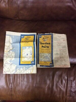 Two Original WWII Michelin Tire War Used Map ALLEGMAGNE and PARIS Old Bring Back