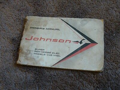 1960 Johnson Outboard 75 HP Super Sea Horse Electric V4S V4SL Owners Manual OEM