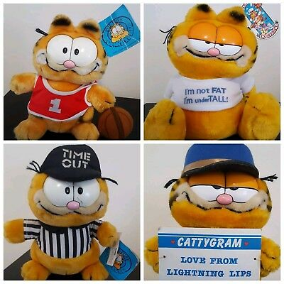 ☆ Vintage 1978 - 1983 Garfield Figure Doll Plush Lot With Tags ☆