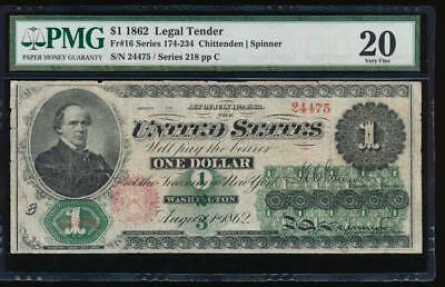 AC Fr 16 1862 $1 Legal Tender PMG 20 comment NICE TYPE !!!