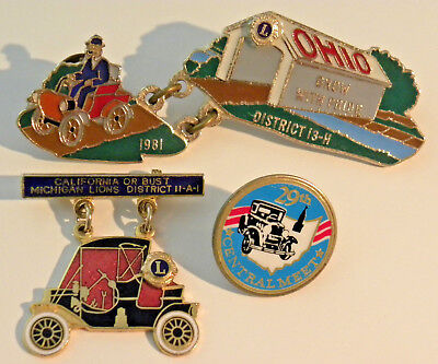 Lot Of Three Vintage Chevrolet / Antique Aaca Collector Pins