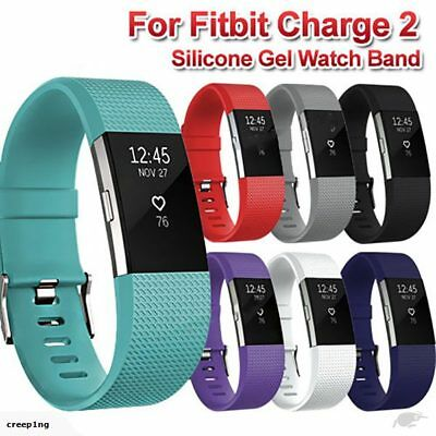 Silicone Metal Replacement Fitbit Charge 2 Band Wristband Watch Strap Bracelet