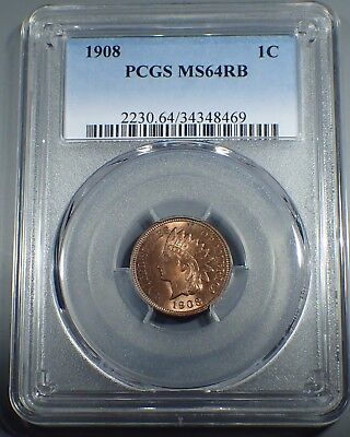 1908 1C RB Indian Cent  PCGS MS 64RB   A3800