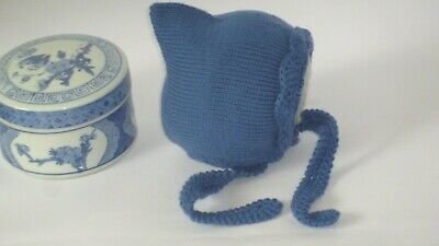 New Classic Baby Infant Denim Hand Knitted Crochet Pixie Bonnet Beanie Hat 0-3