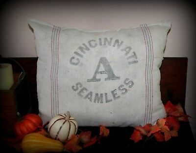 Antique-Vintage-Grain-Sack-Pillow-Seed-Flour-Primitive-Farmhouse-Flour-Old  Ant