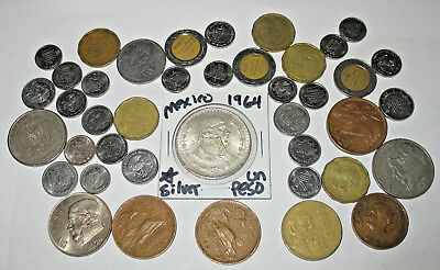 EXCELLENT MEXICO COIN LOT! LARGE SILVER UN PESO! MEXICAN COIN COLLECTION! (39h)