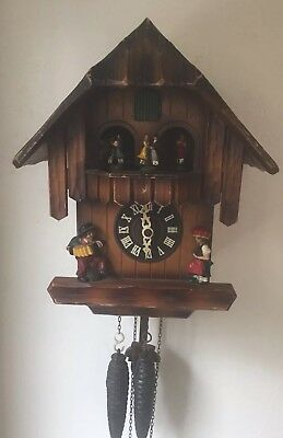 """German beautiful  2 Weights Driven Carved Wood Case Cuckoo Clock GWO 13""""L 8.5""""W"""