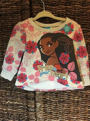 Infant Girl Disney Moana Long Sleeve Floral Sweatshirt Size 12 Months