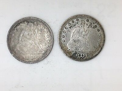 2 SEATED QUARTERS 1861 1876 nice coins! no reserve! bd