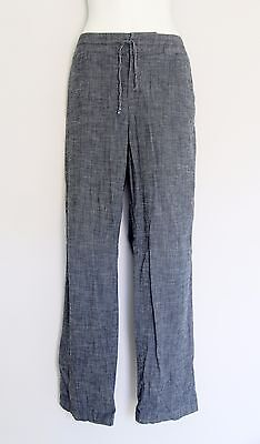 ELLEN TRACY Women's L 12 Chambray Stretch Cotton Straight Leg Pants w Drawstring