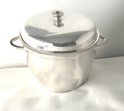 Fine Vintage Mappin & Webb Silver-Plate Ice Bucket With Glass Liner & Strainer