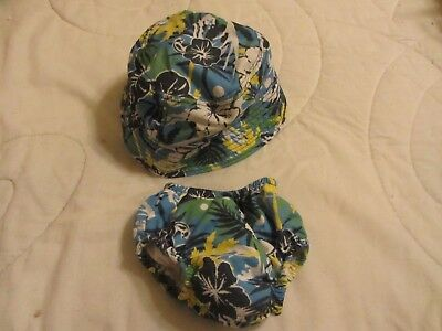 boy infant swimwear, swimsuit and matching hat, swim diaper