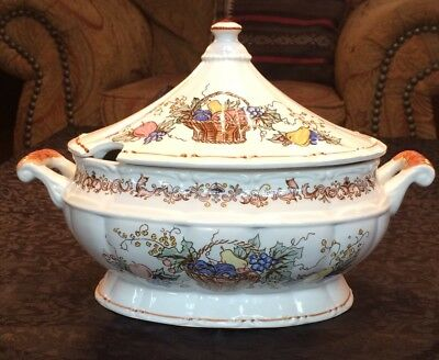 Vintage Porcelain Thanksgiving Tureen-- Hand Painted With Handled