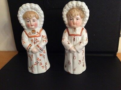 2 Little Girls  -  Antique Kate Greenaway Figurine Salt and Pepper Shakers