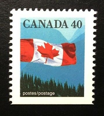 Canada #1169as Bottom AP MNH, Flag over Mountains Definitive Booklet Stamp 1990