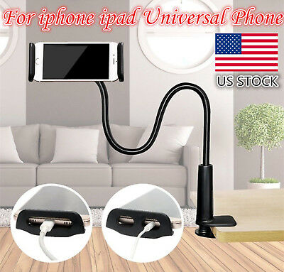 Flexible 360° Clip Universal Bed Desktop Stand Mount Holder For Phone Long Arm