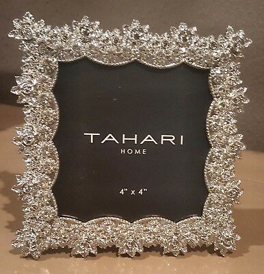 "Tahari Picture Photo Frame Silvertone Rhinestones Roses 3.25"" X 3.25""  BLING NEW"