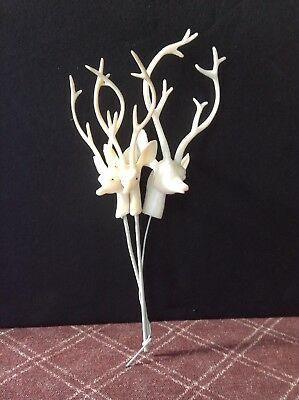 Lot Of 3 Vintage Mid Century Plastic White Stags On Stick