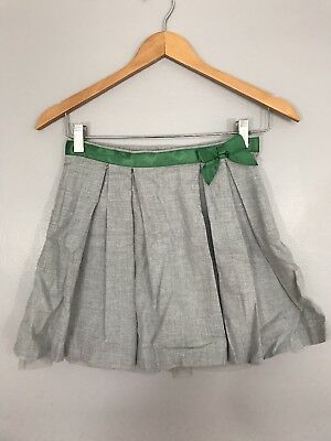 Janie And Jack Girls Gray Green Bow Pleated Skirt Christmas Size 10