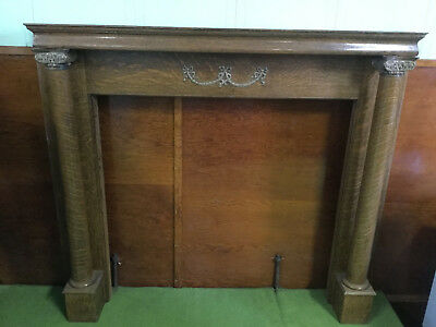 antique carved oak fireplace mantel