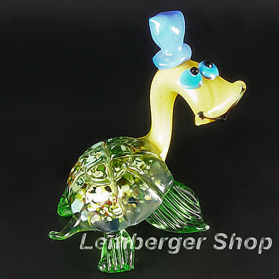 Glass figurine turtle made of colored glass. Lenght 7 cm / 2.8 inch!
