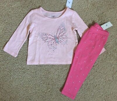 Toddler Girl 12-18 Month Baby Gap Pink Glitter Butterfly Top & Leggings Outfit