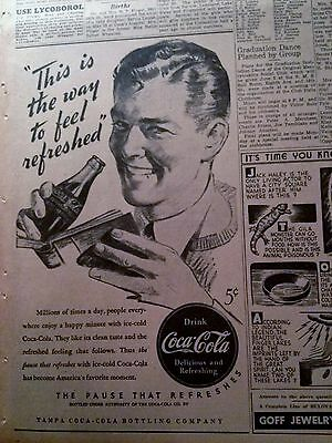 June 3, 1940 Newspaper #3747- Coca-Cola- This Is The Way To Feel Refreshed