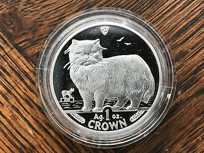 1989 Isle of Man Persian Cat 1 oz Silver Coin .999 Crown Proof