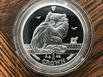 1995 Isle of Man Turkish Cat 1 oz Silver Coin .999 Crown Proof