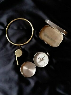 lot vintage metal pill case box compass & brass whistle key chain junk drawer