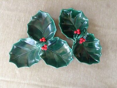 Lot Of 2 Vintage Leftons Christmas Green / Red Holly Dishes Japan