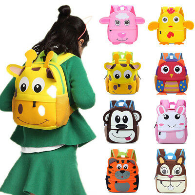 3D Cartoon Animal Toddler Kids Children School Bag Travel Backpack Gift US STOCK