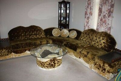Vintage 1950's/60's Velour Sectional Couch with Matching Glass Coffee Table