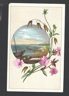Advertising Trade Card Union Tea Co. New Britain Conn. Old Wood Boat Beach Pink