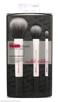 Real Techniques DUO FIBER FIBRE 3 Brush Collection: Face/Contour/Eye Brushes