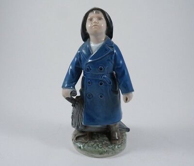 Royal Copenhagen Boy with Umbrella, Figure #3556 - Signed NV, Made in Denmark